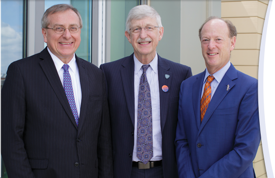NIH Director Francis Collins toured a UF innovation lab and addressed a standing-room-only crowd of students and faculty during a whirlwind visit.