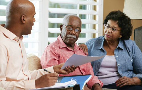 Family completing an Advance Directive