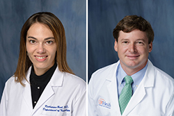 Katharina M. Busl, M.D., an associate professor and division chief of neurocritical care at UF Health and medical director of the UF Health Shands Hospital Neuro Intensive Care Unit, and Christopher P. Robinson, D.O., a clinical assistant professor in the department of neurology in UF's College of Medicine.