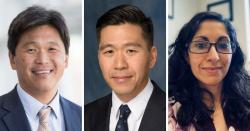 (From left) UF Health neurosurgeons Brian Hoh, M.D.; Daniel Hoh, M.D.; and Maryam Rahman, M.D.