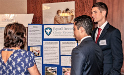 2018 UF Medical Guild grant recipients discuss their projects during the annual poster session.