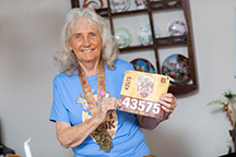 Judy Jones at her home two months after the race. (Mindy Miller — UF Health)