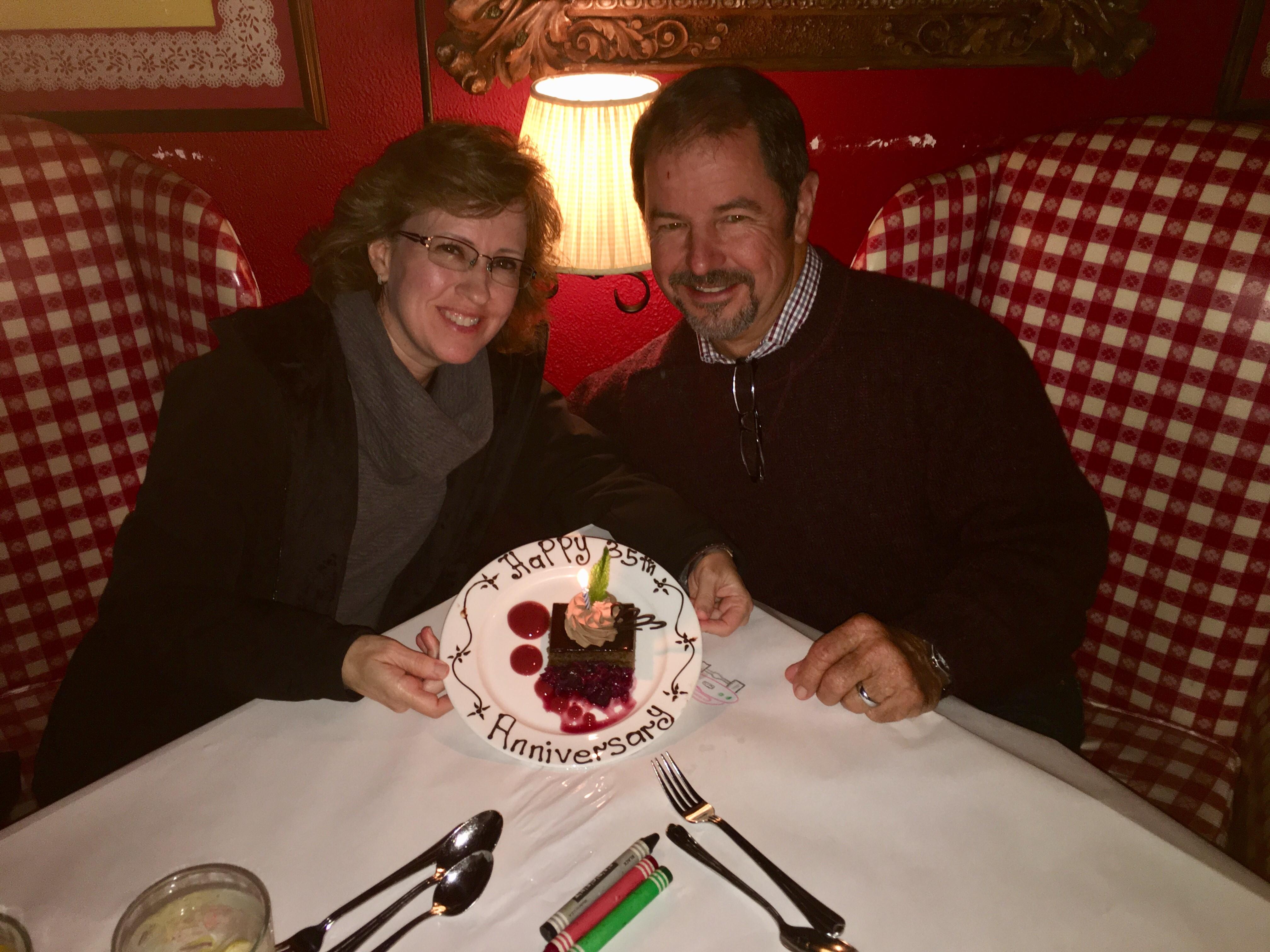 Kim and her husband, Karl, celebrating their 35th anniversary.