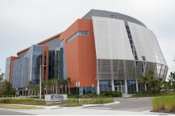 UF Research and Academic Building at Lake Nona  A metal shade system shields the glass and saves energy while allowing a view.