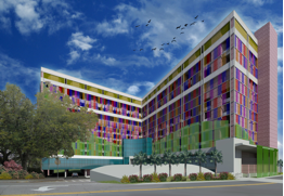 Sketch of new UF Health Shands Children's Hospital entry and façade
