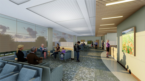 The second floor waiting area at the newest Springhill building