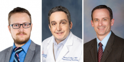 (From left) Angelos Barmpoutis, Ph.D.; Michael Okun, M.D.; and David Vaillancourt, Ph.D.