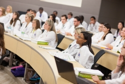 Student pharmacists attending a class in patient care and communication at the Helen and David Bean Campus of the UF College of Pharmacy, Orlando.