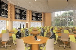 An architectural rendering of the George T. Harrell, M.D., Medical Education Building