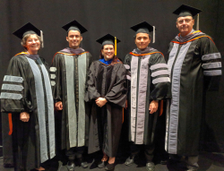The UF College of Veterinary Medicine's 2018 Distinguished Award winners, from left to right, are Dr. Renee Carlton, Distinguished Service ; Dr. Santiago Diaz, Outstanding Young Alumni; Dr. Amy Stone, Special Service; Dr. Stanley Kim, Alumni Achievement (MS/PhD); and Dr. Clifford Berry, Alumni Achievement (DVM). (Photo by Sarah Carey)