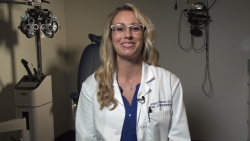 Jessica Cameron, O.D., a University of Florida Health optometrist and clinical faculty member in the UF College of Medicine's department of ophthalmology