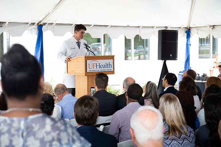 Kelly D. Foote, M.D., Co-Director, Norman Fixel Institute for Neurological Diseases addresses attendees during the ribbon-cutting for the Norman Fixel Institute for Neurological Diseases at UF Health on Wednesday, June 19.