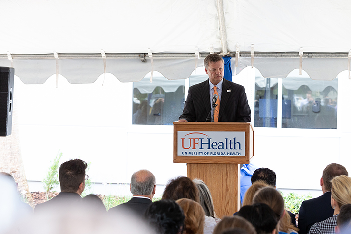 Rick Staab, Founder, Tyler's Hope for a Dystonia Cure and Chair, Norman Fixel Institute Leadership Council addresses attendees during the ribbon-cutting for the Norman Fixel Institute for Neurological Diseases at UF Health on Wednesday, June 19.
