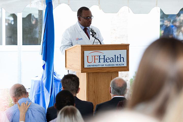 Joseph A. Tyndall, M.D., MPH Interim Dean, UF College of Medicine addresses attendees during the ribbon-cutting for the Norman Fixel Institute for Neurological Diseases at UF Health on Wednesday, June 19.