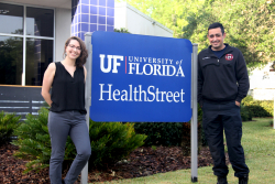 Credit: Tamara Lowrey  Kelly Likos, left, and Kayvon Yazdanbakhsh, both students at UF and volunteers with the Melrose Volunteer Fire Department, will be the first firefighters certified as UF HealthStreet Community Health Workers.