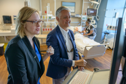 Ragnhildur Bjarnadottir, Ph.D., left, and Robert Lucero, Ph.D., hope to use observational notes from registered nurses to improve safety for hospitalized older adults.