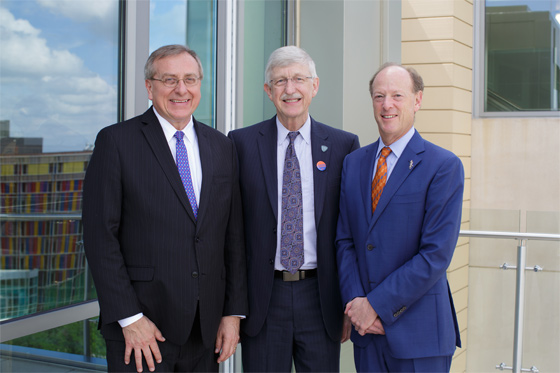 President Kent Fuchs, Dr. Frances Collins and Dr. David Guzick