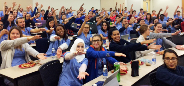 D.M.D. students show their Gator pride before their session with accreditation site visitors