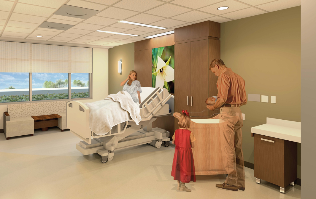 Rendering of a UF Health North labor and delivery suite.