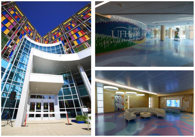 Children's hospital façade, atrium and lobby (Copyright: UF Health Communications)