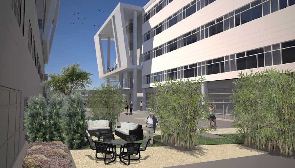Rendering of the UF Health North courtyard.