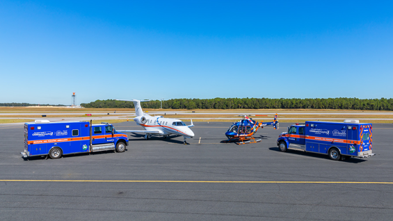 The UF Health ShandsCair program and the Sacred Heart Health System celebrated a new collaboration last fall. Our emergency transport vehicles, pictured here at the Innisfree Jet Center in Pensacola, will help critically ill neonatal and pediatric patients across Northwest Florida quickly access specialized medical care.