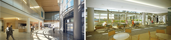 Images of interior atrium space and café side by side