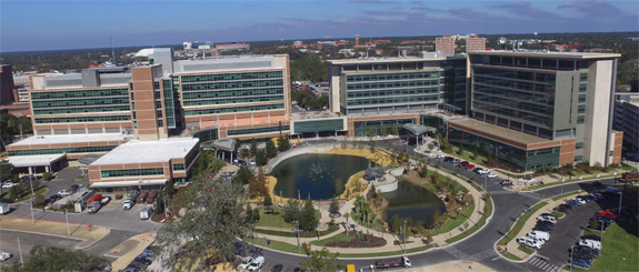 Photo of exterior of new hospitals showing connection to the Cancer Hospital
