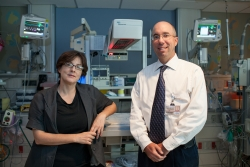 Rosalind Sadleir, Ph. D., and Michael Weiss, M.D., recently recieved a grant to develop a monitoring device that can be used to detect brain bleeds in NICU babies.