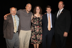 From left to right are UF College of Veterinary Medicine Distinguished Award winners Dr. Elliott Jacobson, Dr. Adam Birkenheuer, Dr. Chris Sanchez, Dr. Andy Roark and Congressman Ted Yoho. All were honored May 24 during the college's commencement ceremony. (Photo by Sarah Carey)