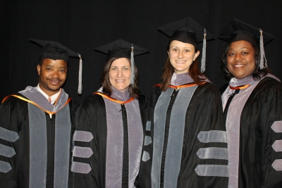 The UF College of Veterinary Medicine's 2015 Distinguished Award winners, from left to right, were: Dr. Glen Wright, Dr. Natalie Isaza, Dr. Johanna Elfenbein and Dr. Lauren Davidson. Wright and Elfenbein received the college's Outstanding Young Alumni Award, Isaza received the Alumni Achievement Award, and Davidson received the Distinguished Service Award. (Photo by Sarah Carey)