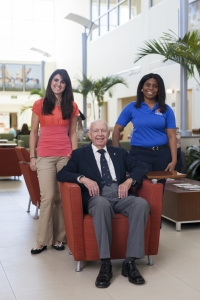 Dr. Paul Nicoletti, a professor emeritus at the UF College of Veterinary Medicine, is flanked by veterinary students who are previous scholarship recipients. Nicoletti made an initial gift of $100,000 to the college's new scholarship initiative. (Photo by Tyler L. Jones)