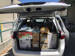 This minivan contained a variety of personal protective equipment used in student surgery labs and other equipment donated by the UF College of Veterinary Medicine to assist in UF Health's COVID-19 response efforts
