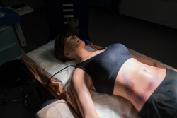 007 is completely anatomically accurate, a first for a female trauma simulator. Photo by Louis Brems