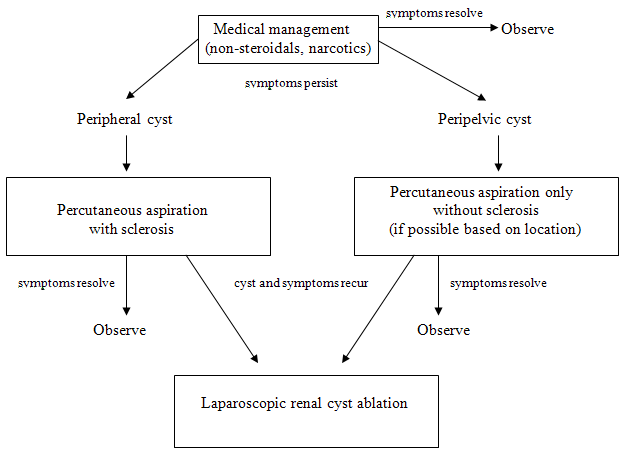 Figure 2. Treatment algorithm for symptomatic simple peripheral and peripelvic renal cysts
