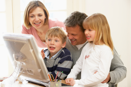 Family at a computer