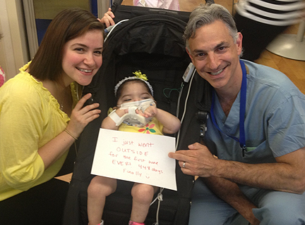 Izabella Neira is photographed with her mother and her surgeon Mark Bleiweis, MD, after Izabella traveled outside for the first time.