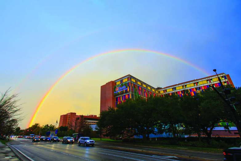 Rainbow over UF Health Shands Children's Hospital