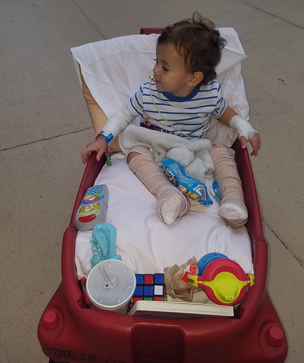 Kashton in a wagon.