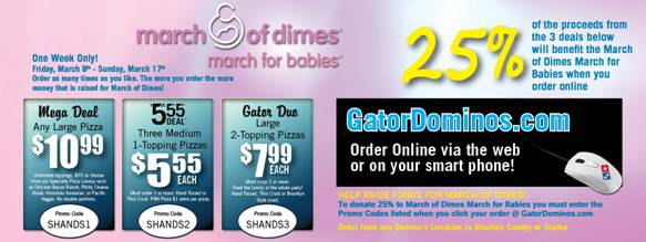 Shands pizza deals from Gator Dominos