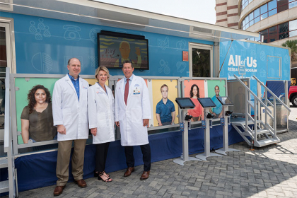 The All of Us Journey bus was featured at UF Health last fall. The hands-on mobile recruitment unit helped us teach the benefits of precision medicine and the goals of the program.