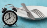 Stock image of an alarm clock next to a plate