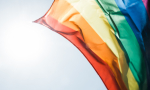 Rainbow flag waiving in the wind