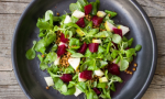 Stock photo of a salad with beets, apples and arugula. Delicious!