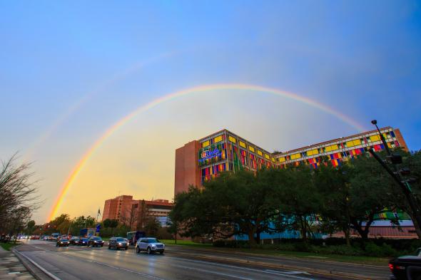 A rainbow over UF Health Shands Children's Hospital