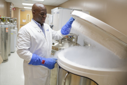 Dr. Duane Mitchell opens a large freezer in a lab. Dr. Mitchell is the Assistant Vice President for Research at University of Florida and Associate Dean for Translational Science and Clinical Research at the UF College of Medicine.