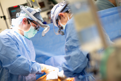 Doctors in the operating room performing a lung transplant