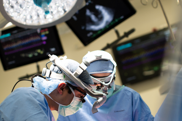 Two surgeons are operating on a lung transplant patient.