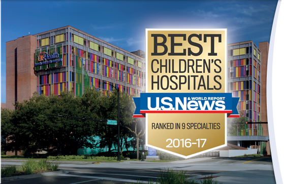 UF Health Shands Children's Hospital recognized in nine medical specialties